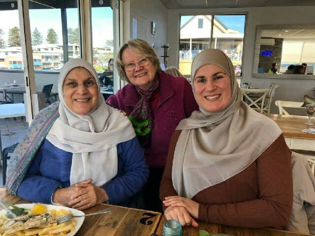 Jane Mills (C) with Sydney neighbor Mariam Hijazi (L) and Mariam's daughter (R). Photograph provided by Jane Mills.