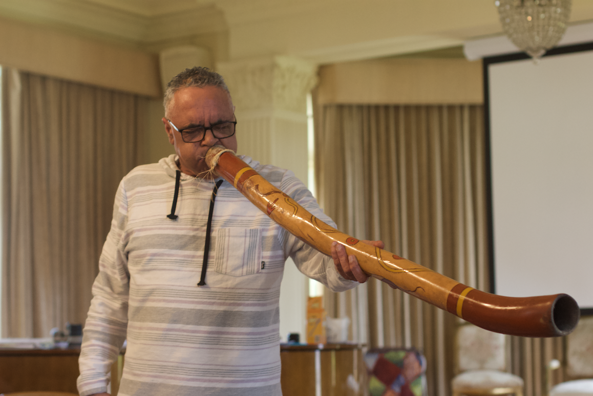 Shane Charles with the didgeridoo at Armagh. July 2021 Photograph by Gabby Harcourt