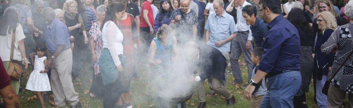 Smoking ceremony at Armagh to launch Our Uluru Response, a trustbuilding project with First Nations / Credit: Reuben Clisby