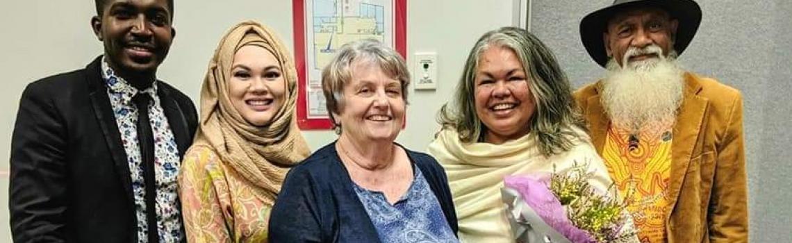 L - R: Amiel Nubaha; Nora Amath; Barbara Lawler; Susan Moylan-Coombs; and Darryl Lingwoodcock