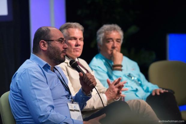 Imad Karam (left) responds to questions from the audience