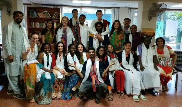 Caux Scholars in traditional khata - Tibetan ceremonial scarves symbolising purity and compassion.
