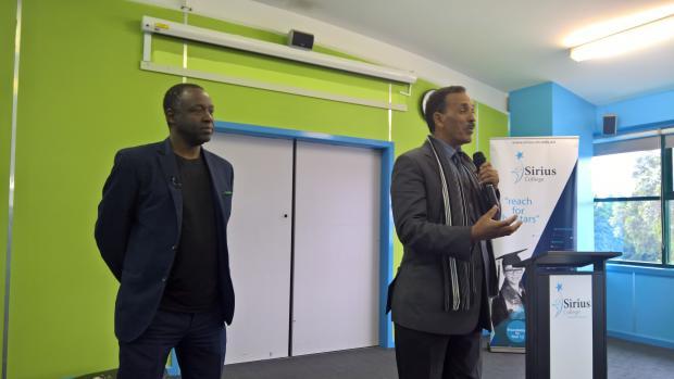 Jean-Paul Samputu with Berhan Ahmed at Sirius College, Broadmeadows (Photo by Rob Wood)