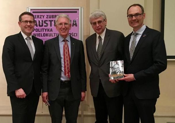 (L. to R.) Australian Ambassador Paul Wojciechowski, John Bond, Prof. Jacek Purchla, and Adam Koniuszewski of The Bridge