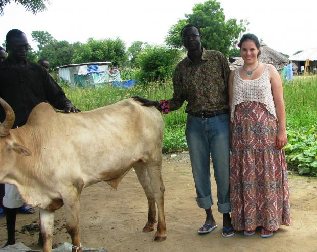 Nyok and Kathryn arriving 'home' in Bor, South Sudan