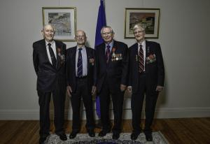 Jim Coulter (2nd from R) and other aircrew receiving the Legion d'Honneur for their participation in the D-Day liberation of France.