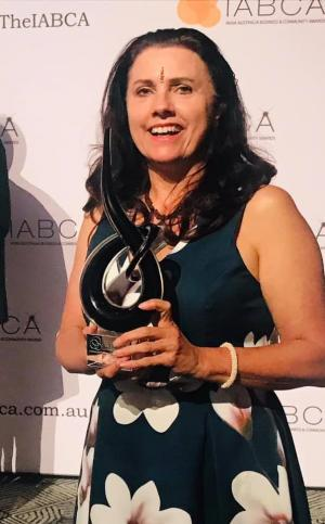 Margaret receiving the India Australia Business Community Award for Community Achievement Excellence in 2019