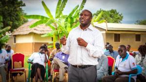 Joseph Karanja of IofC Kenya speaks at the training of Peace Mobilizers in Yei, South Sudan.