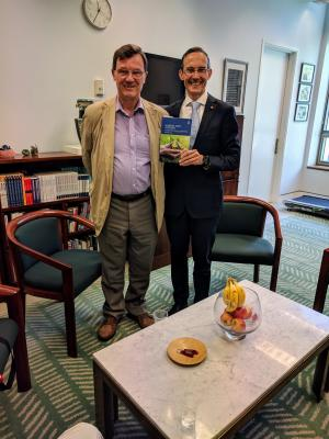 Michael Smith with federal MP Dr Andrew Leigh, Shadow Assistant Minister for Treasury and Charities and former professor of economics at the Australian National University – Canberra, Feb 2020