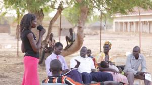 A newly trained Peace Mobilizer in Kuajok, Warrap State.
