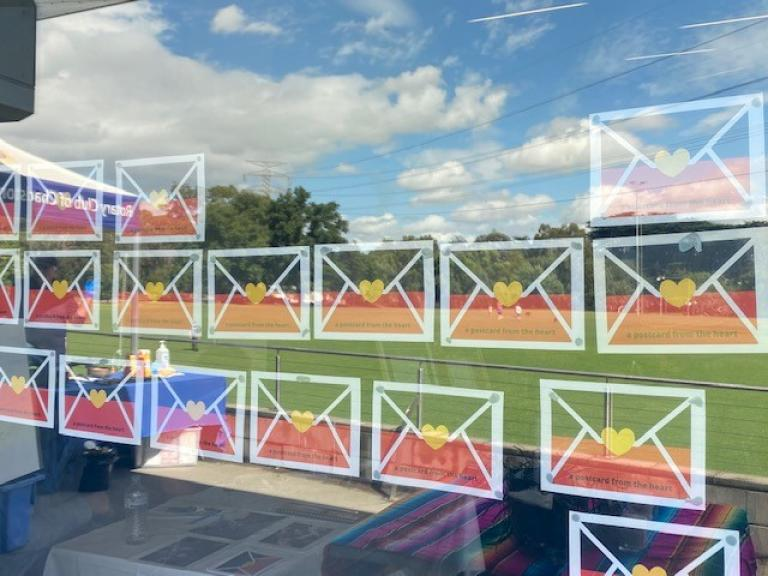 Postcards from the Heart on display at the City of Stonnington's community festival, Regenerating the Kooyongkoot.