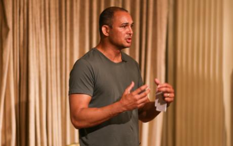 Thomas Mayor, Torres Strait Islander and rights campaigner, delivers the keynote address at the launch of Our Uluru Response. / Credit: Eike Zeller