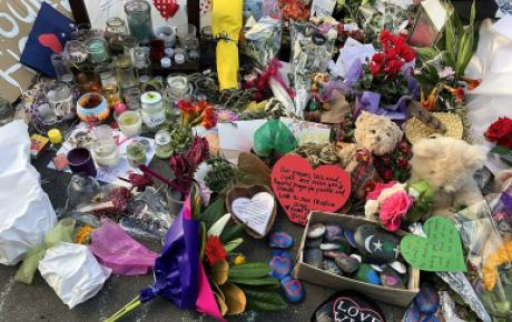 Flowers and tributes at Linwood Avenue memorial for Christchurch mosque shootings, 20 March 2019