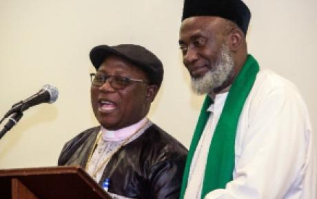 Pastor Wuye (L) and Imam Ashafa (R) speaking at a public event arranged by the Auckland Interfaith Committee.