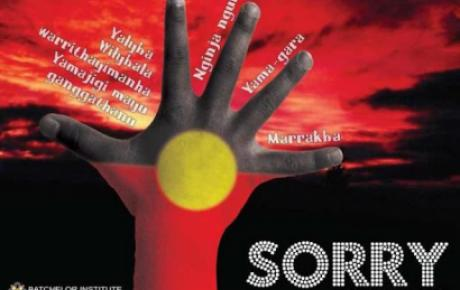Poster produced by Batchelor Press/Batchelor Institute to commemorate the day Australian Prime Minister Kevin Rudd apologised to the stolen generation (13th February 2008).