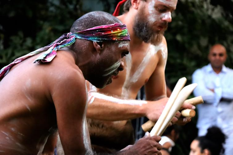 Indigenous music and dance at the launch of Our Uluru Response at Armagh. / Credit: Alex Childs
