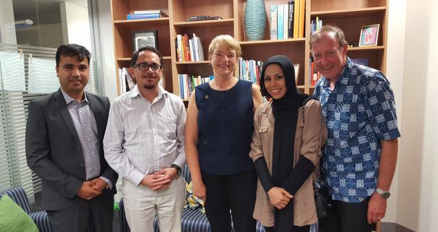 Nazer Nazir (left) and the AAI leadership team meets with Greens MP Janet Rice (centre).