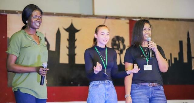 APYC 2019, Leela and Suzie at the talent night. 