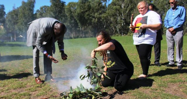 Smoking ceremony performed by the Dharug people at the launch of the project.